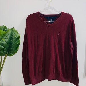 Tommy Hilfiger Burgundy Vneck Sweater